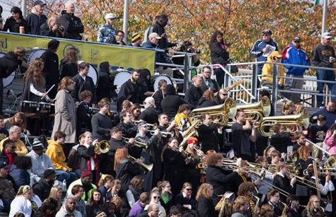 The Shepherd University Ram Band plays in the bleachers during the game against West Liberty.