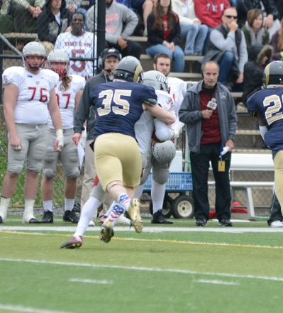 Inside linebacker Ryan Plowman with a tackle to prevent an IUP first down.