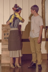 Hope Wolford and Lance Wines perform during the play Urinetown, put on by the Shepherd Scene Stealers.