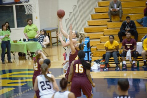 Liz Myers going for a layup