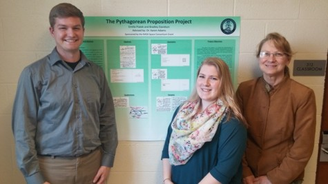 From left to right: Bradley Davidson, Emilie Piatek, and their instructor Dr. Karen Adams stand in front of their poster they presented at the Undergraduate Research Day event.