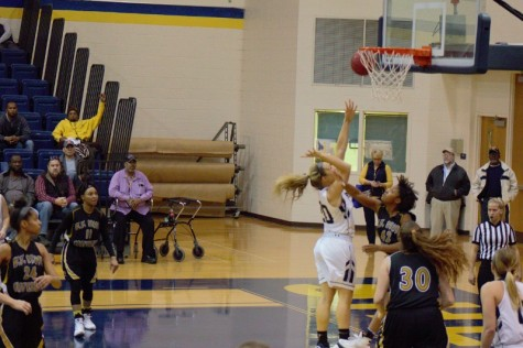 Liz Myers goes for a layup against West Virginia State