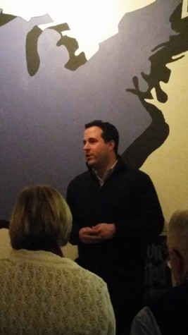 Jason Pizatella stands before the crowd to discuss his bid to become West Virginia's next State Auditor.