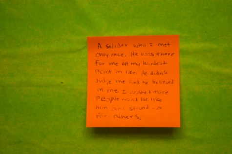 One student wrote about a soldier they had encountered once before.
