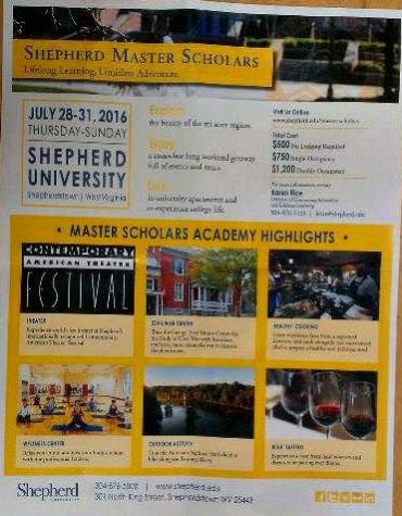 Shepherd University holds a Master Scholars Program during Summer 2016