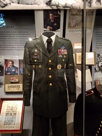 One of Colin Powell's uniforms. Collin Powell is a retired U.S. Army four star general, and was the first African American secretary at the U.S. Department of State under George W. Bush.