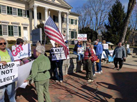 Protestors gather in Shepherdstown for President's Day