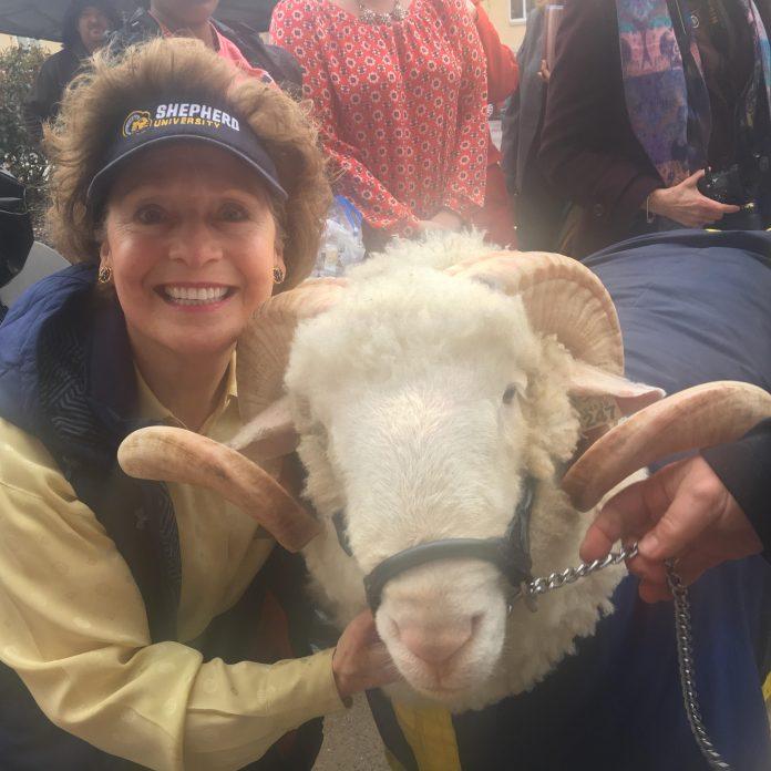 Shepherd's president poses with J.C. the Ram