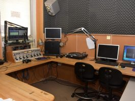 The inside of Shepherd's Radio Station WSHC