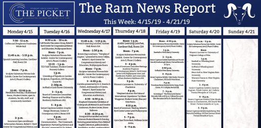 Events for the Week of 4/15/19