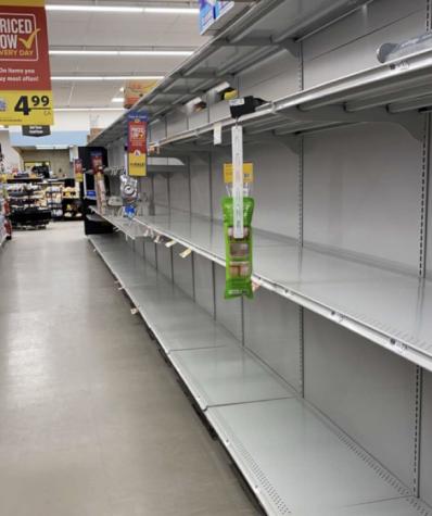 Empty shelves in aisle 10 of Food Lion. Photo courtesy of Amanda Barber.