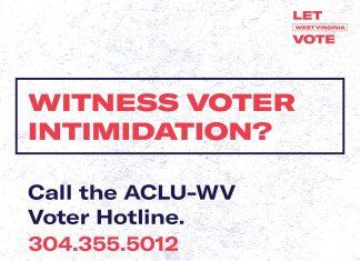 ACLU-WV voter hotline info. Photo courtesy of the ALCU-WV.