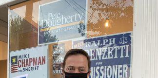 Democratic Gubernatorial Ben Salango in front of Evolve Shepherdstown on Friday Sept. 25.
